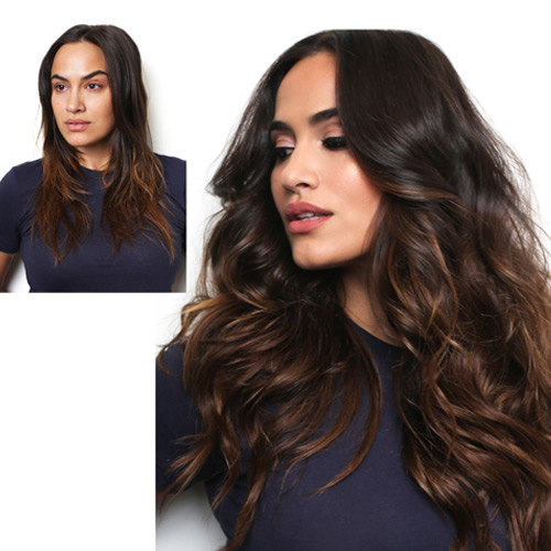 Before and after photo of a young lady with Glam Seamless long hair extensions in two tone dark brown colour.